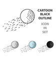 flying golf ball icon in cartoon style isolated on vector image