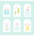 Set of 6 christmas gift tags vector image