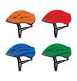 set of bicycle helmets vector image