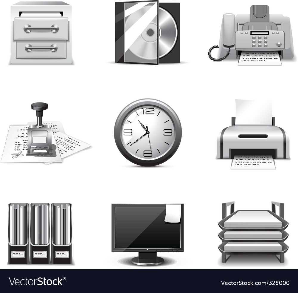 Office icons  bw series vector