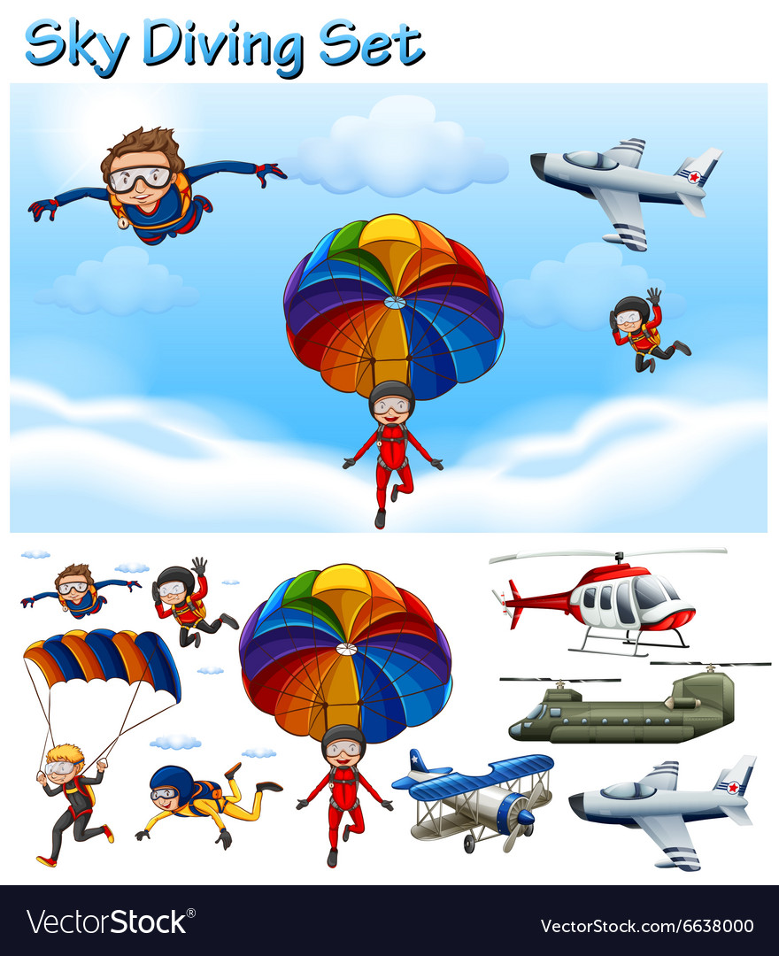Sky diving set with people and equipment vector