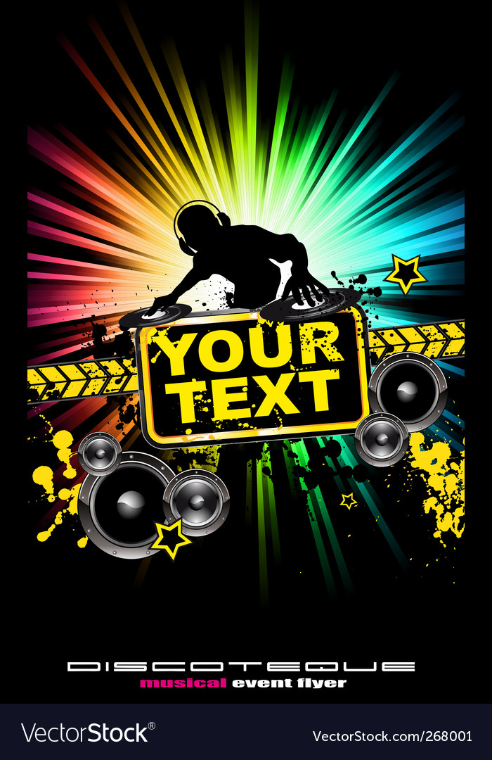 Dj music flyer vector