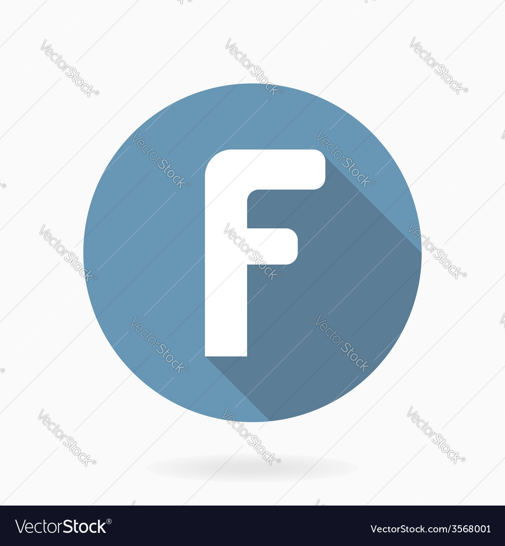 White letter f icon with flat design vector