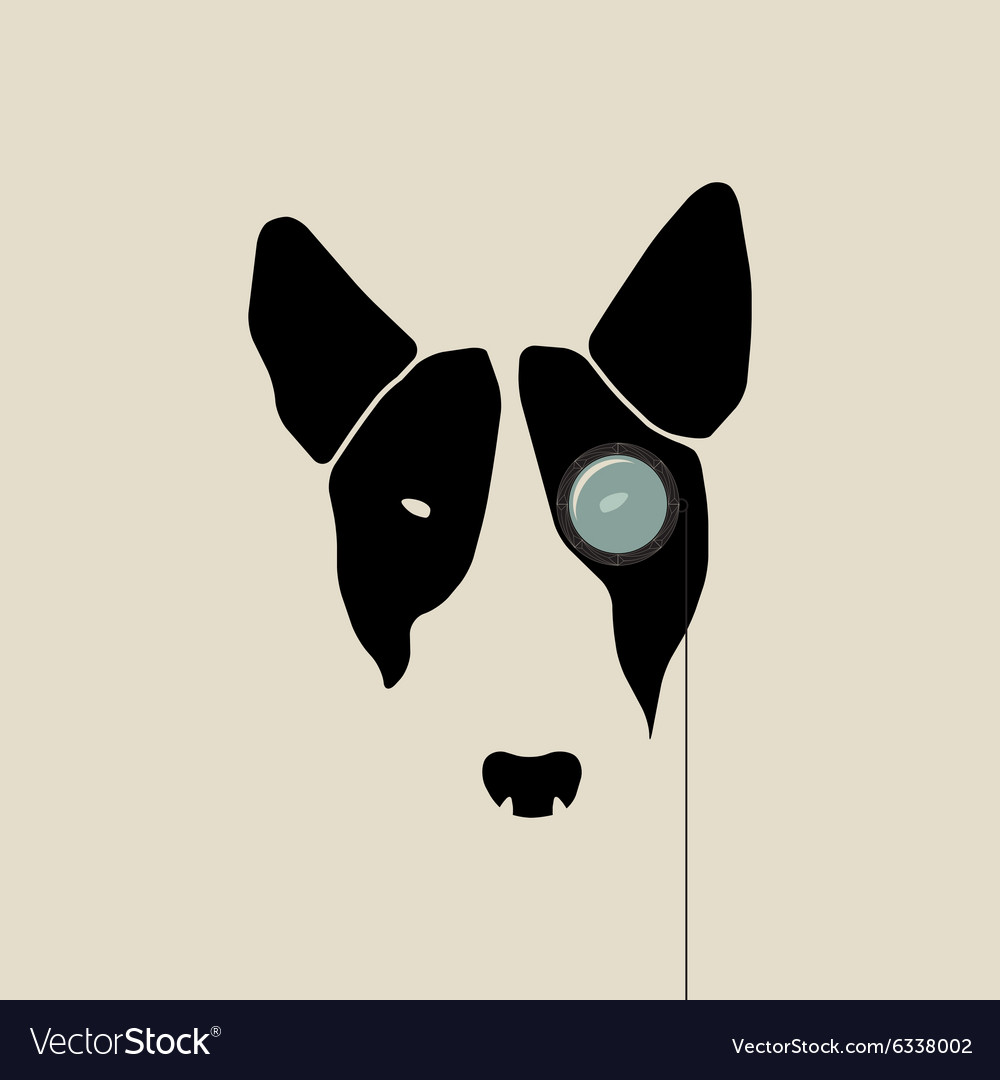 Bull terrier face with monocle vector