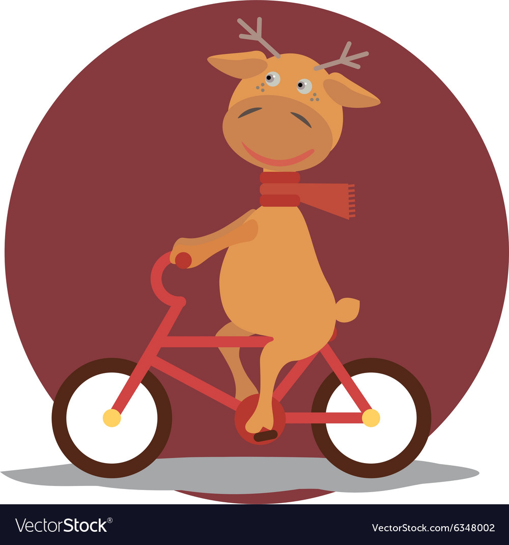 Greeting card with deer in a scarf on bycicle vector