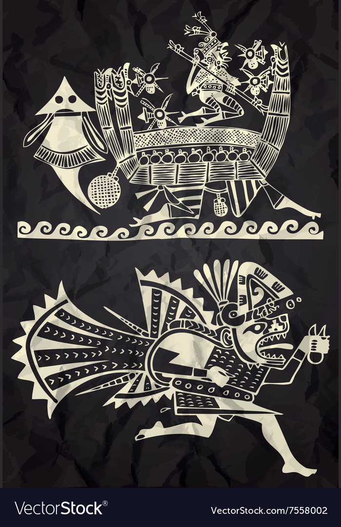Mexico and peru native art vector
