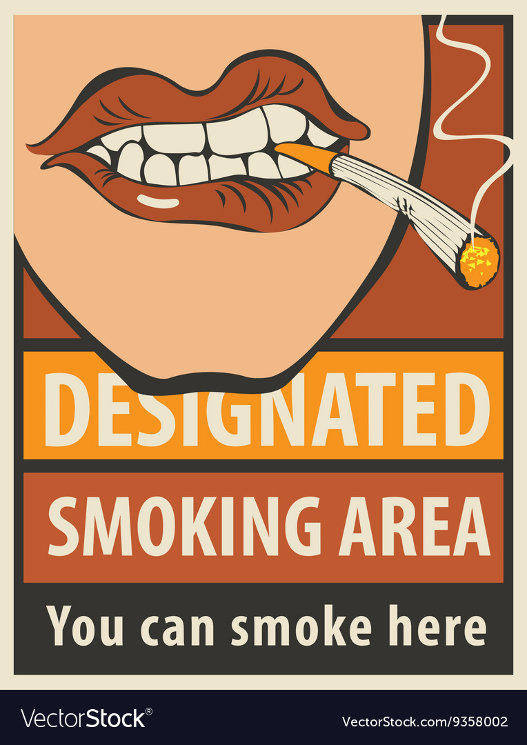 Signboard designated smoking area vector