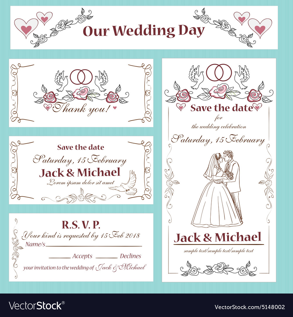 Wedding invitation thank you card save the date vector