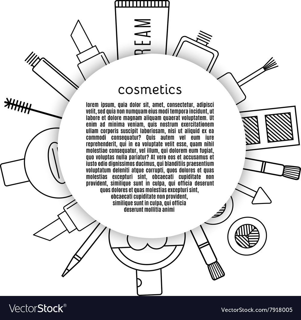 Frame make up and cosmetics set vector