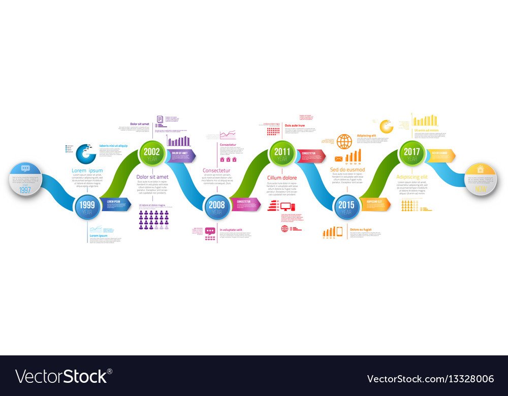 Infographics arrow timeline hystory template vector