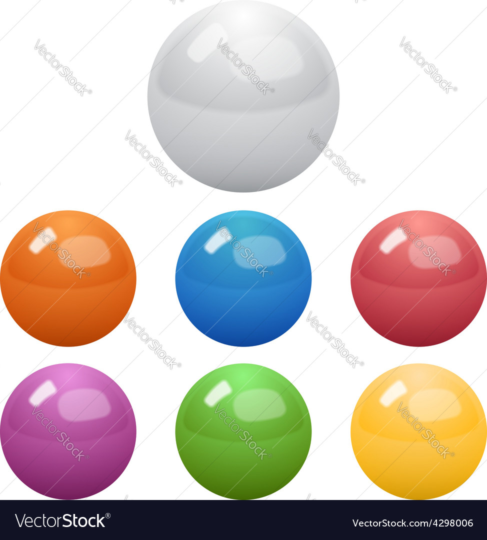 Set of glossy colored balls vector