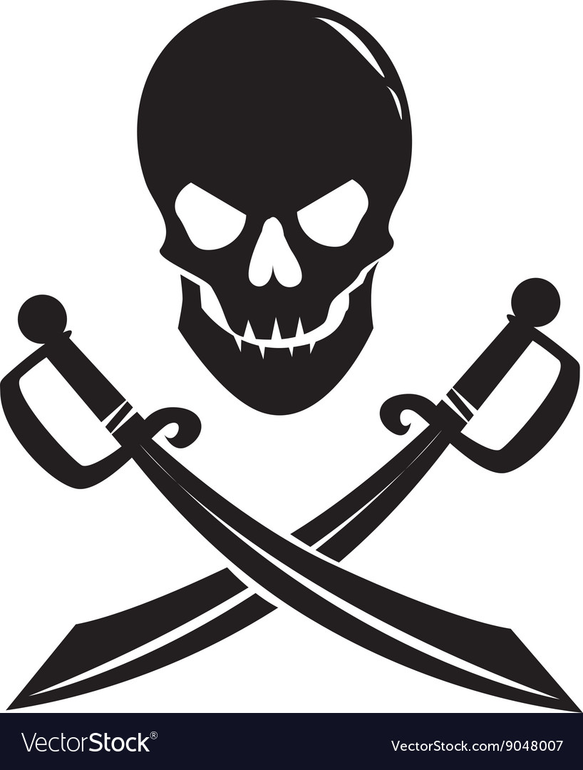 Black skull with swords isolated on white vector