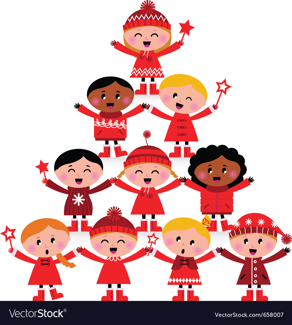 Christmas tree of kids vector