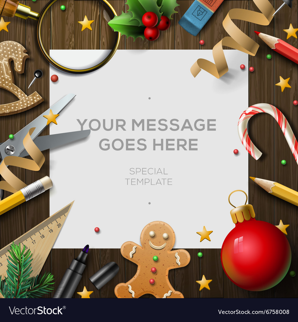 Merry christmas wish list letter for santa claus vector