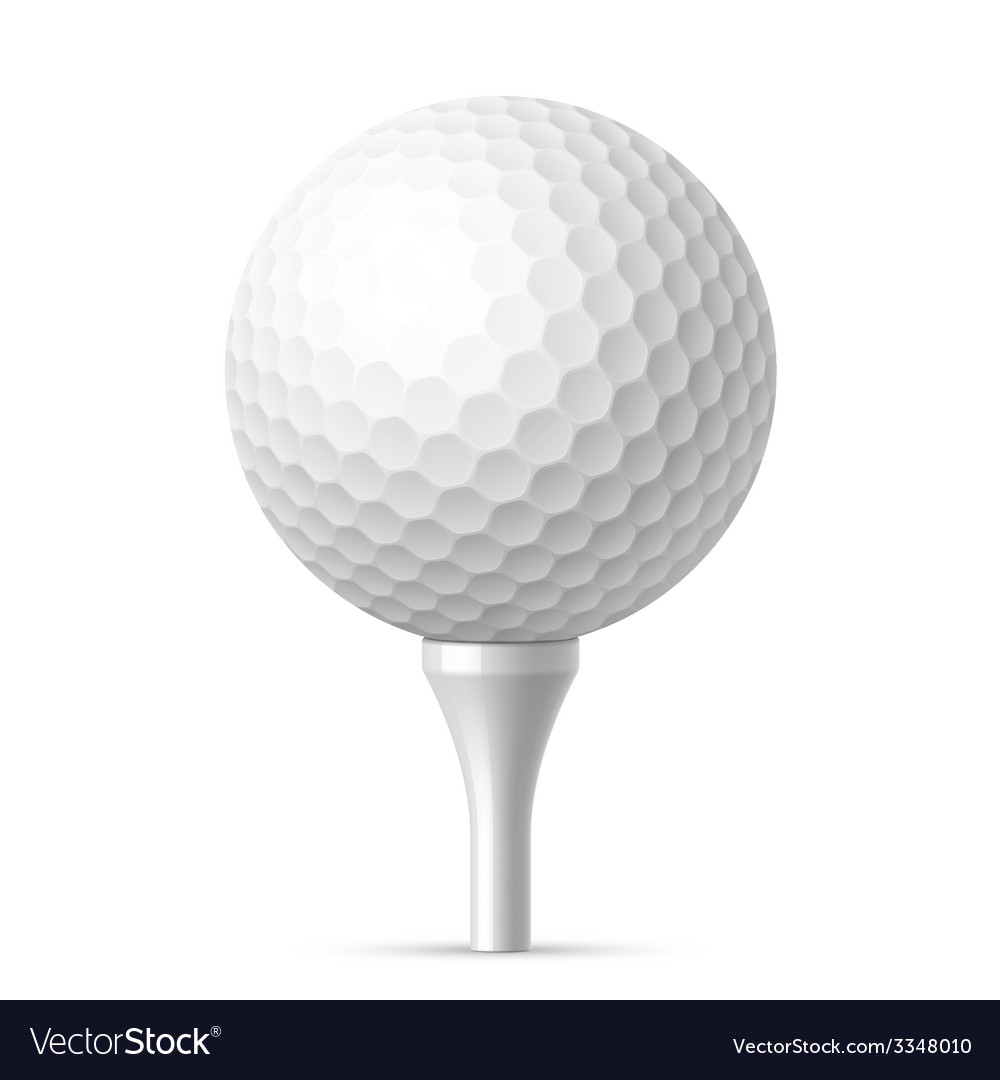 Golf ball on white tee vector