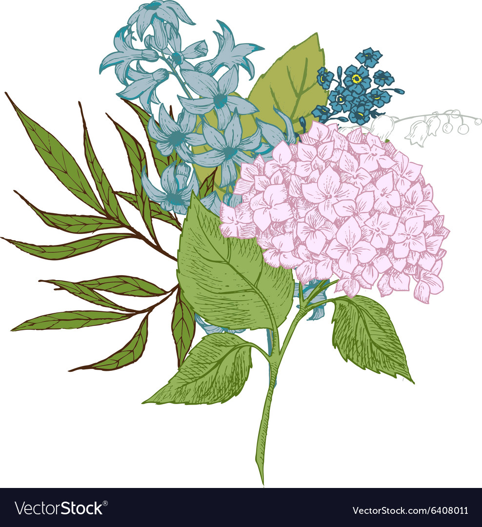 Handdrawn floral bouquet vector