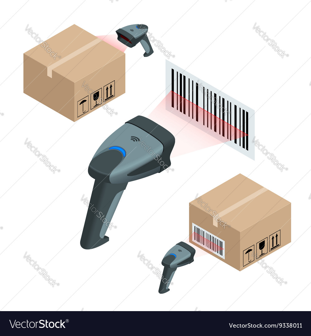Manual scanner of bar codes flat 3d vector