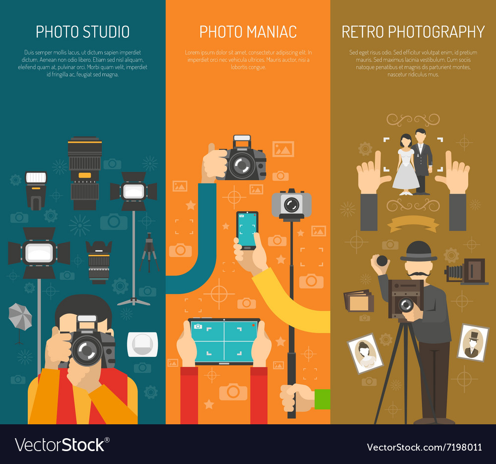 Photography banner set vector