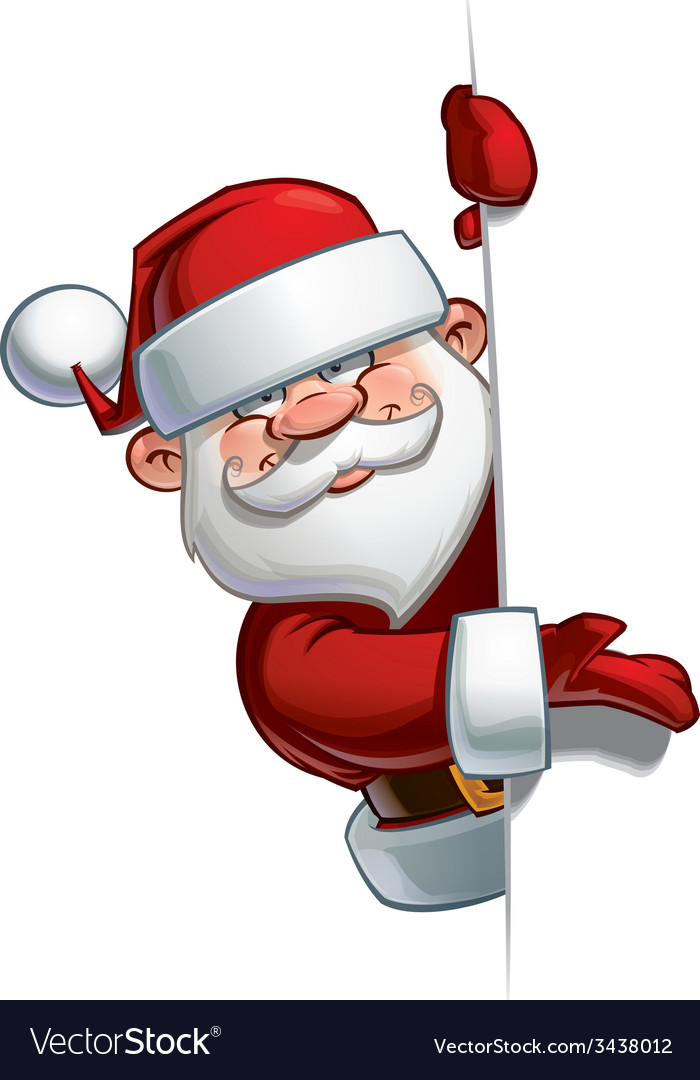 Happy santa empty label presenting vector