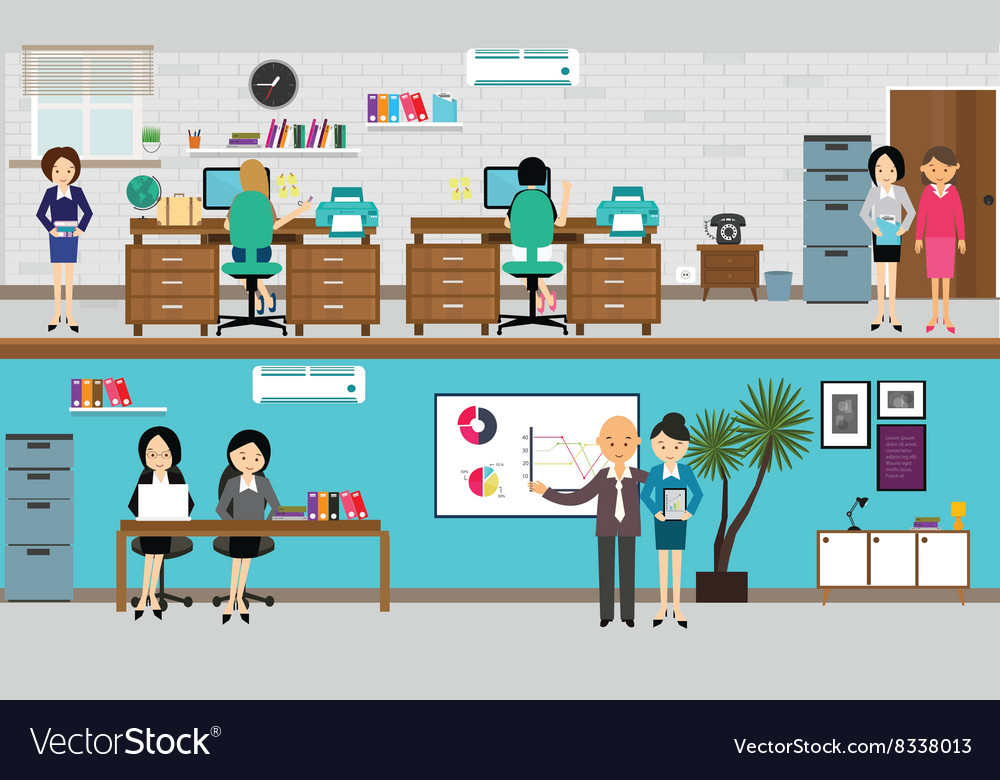 People working at office in flat vector
