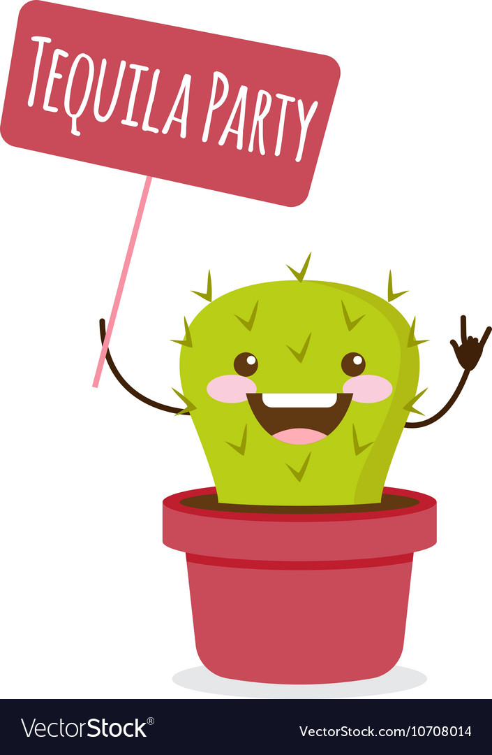 Cartoon cactus tequila party vector
