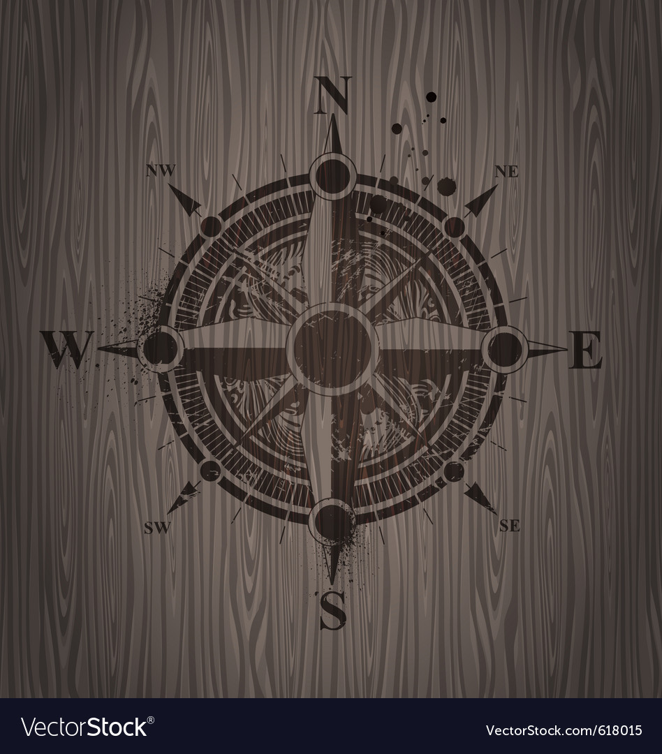Compass rose painting on a wooden wall vector