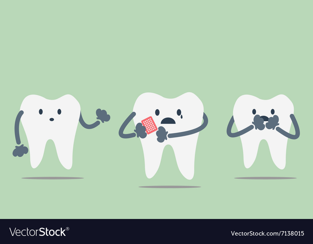 Teeth be pained because toothache vector