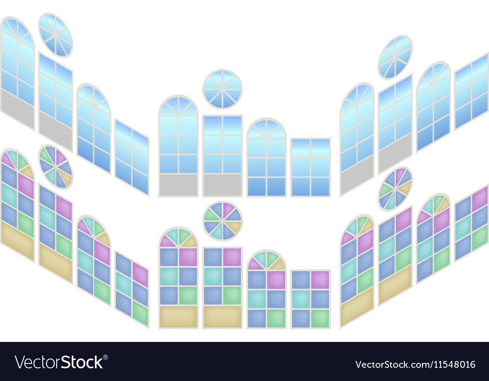 Collection of windows in isometric view vector