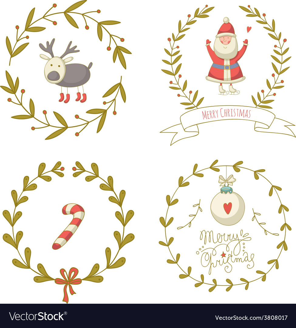 Christmas wreaths set with santa claus and and vector