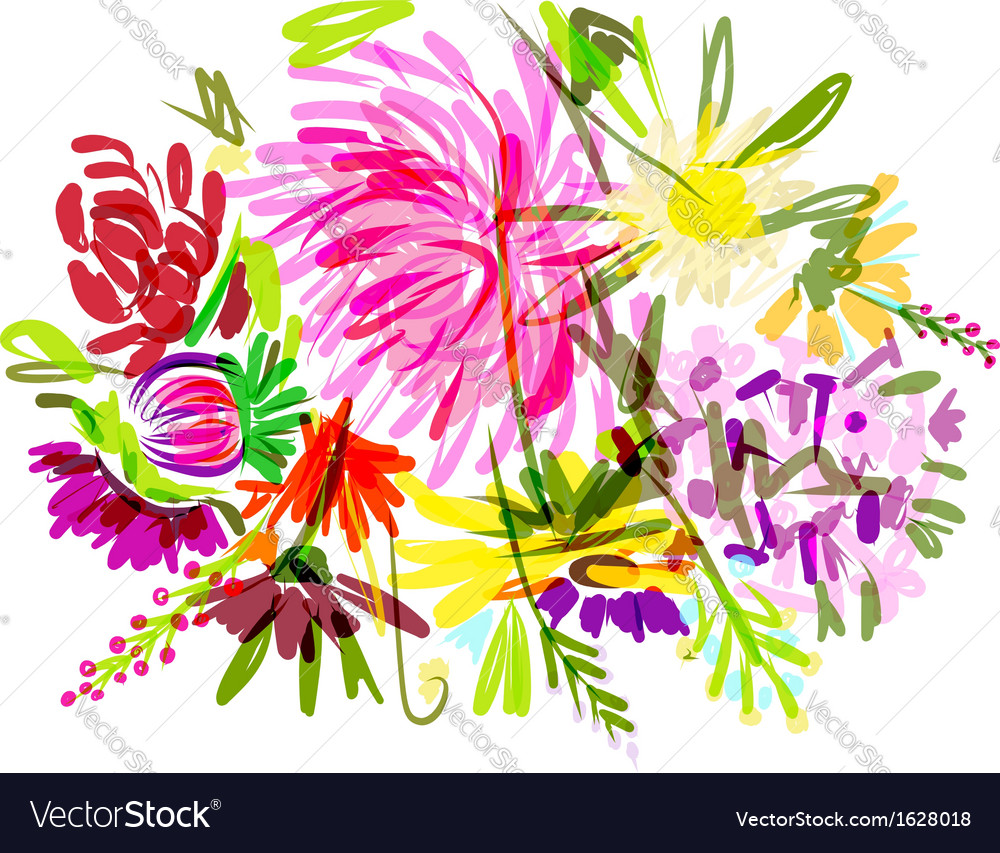 Floral summer bouquet for your design vector