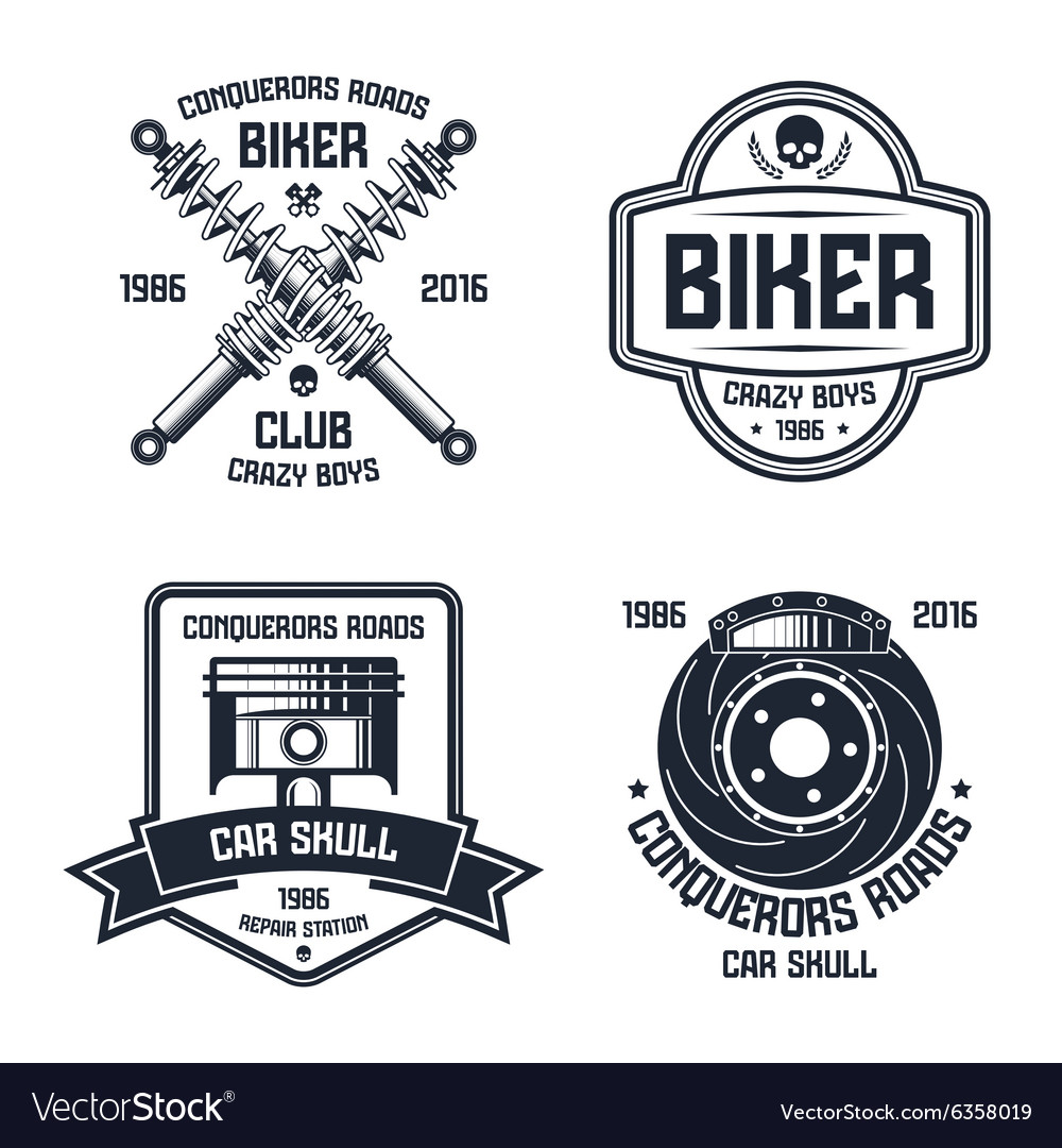 Car repair and biker club emblems vector