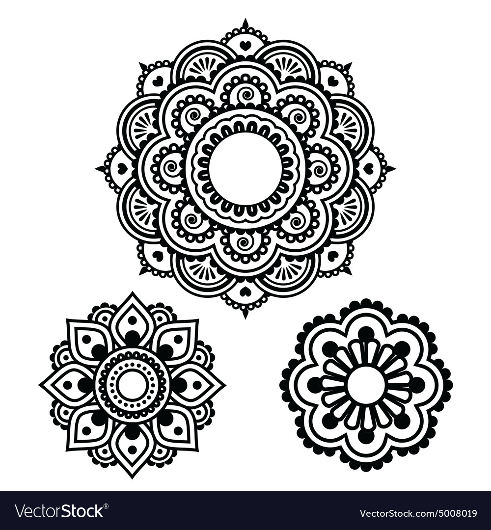 Indian henna tattoo round design  mehndi pattern vector