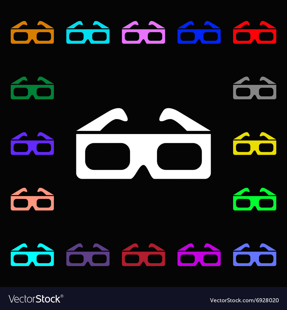 3d glasses icon sign lots of colorful symbols for vector