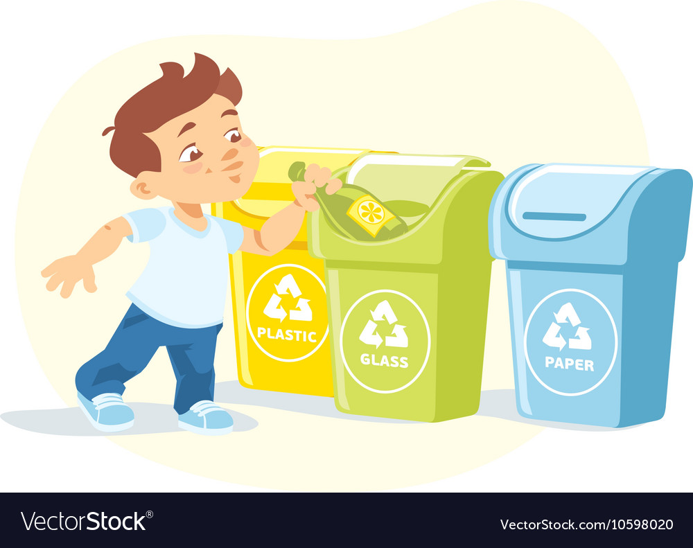 Little boy recycling garbage vector