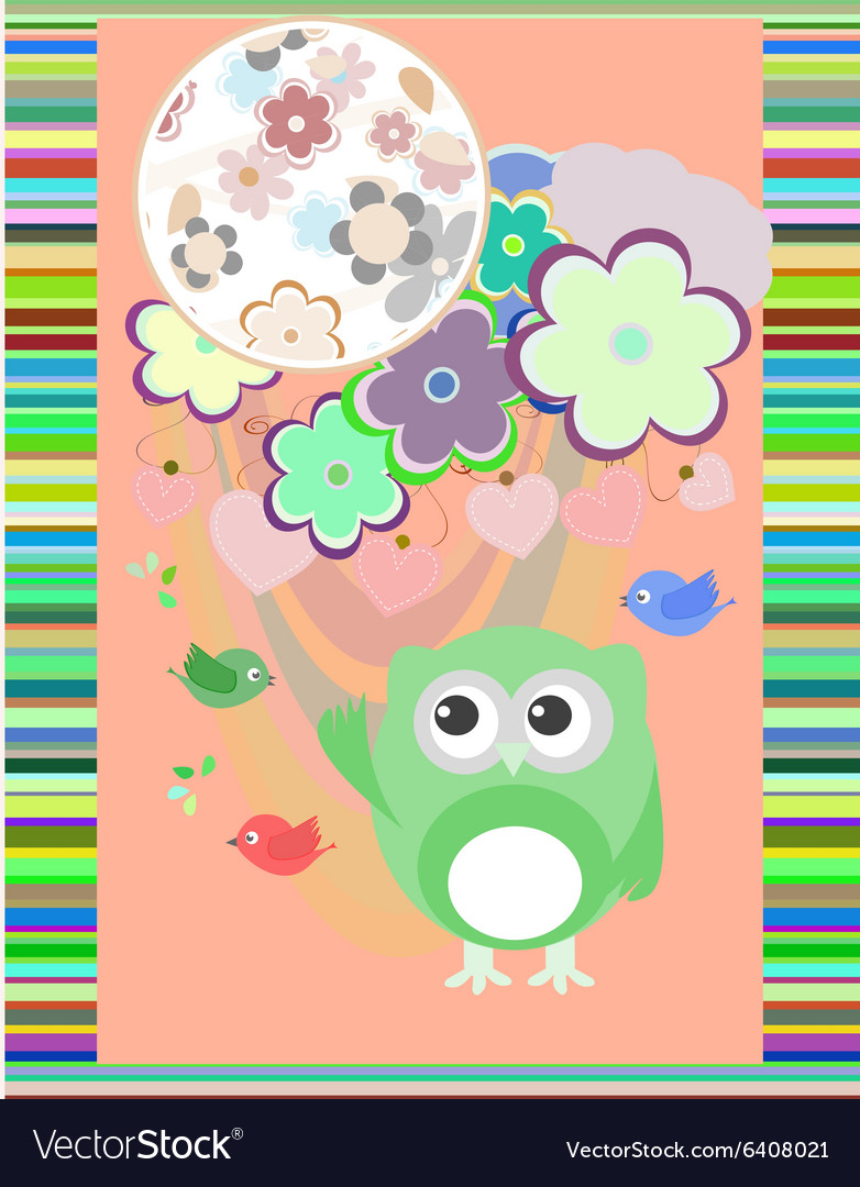 Owl in love and bird with flowers textile vector