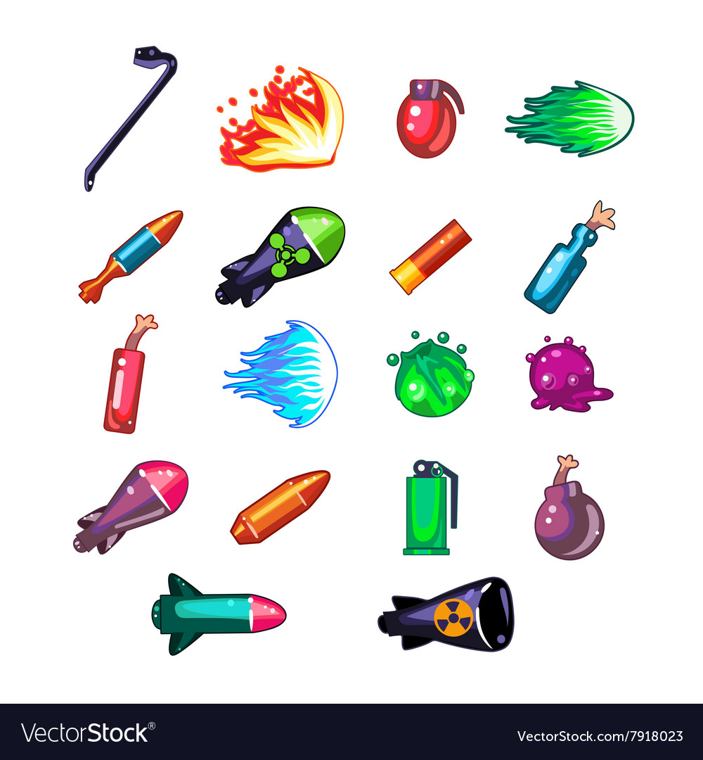 Video game weapon collection vector