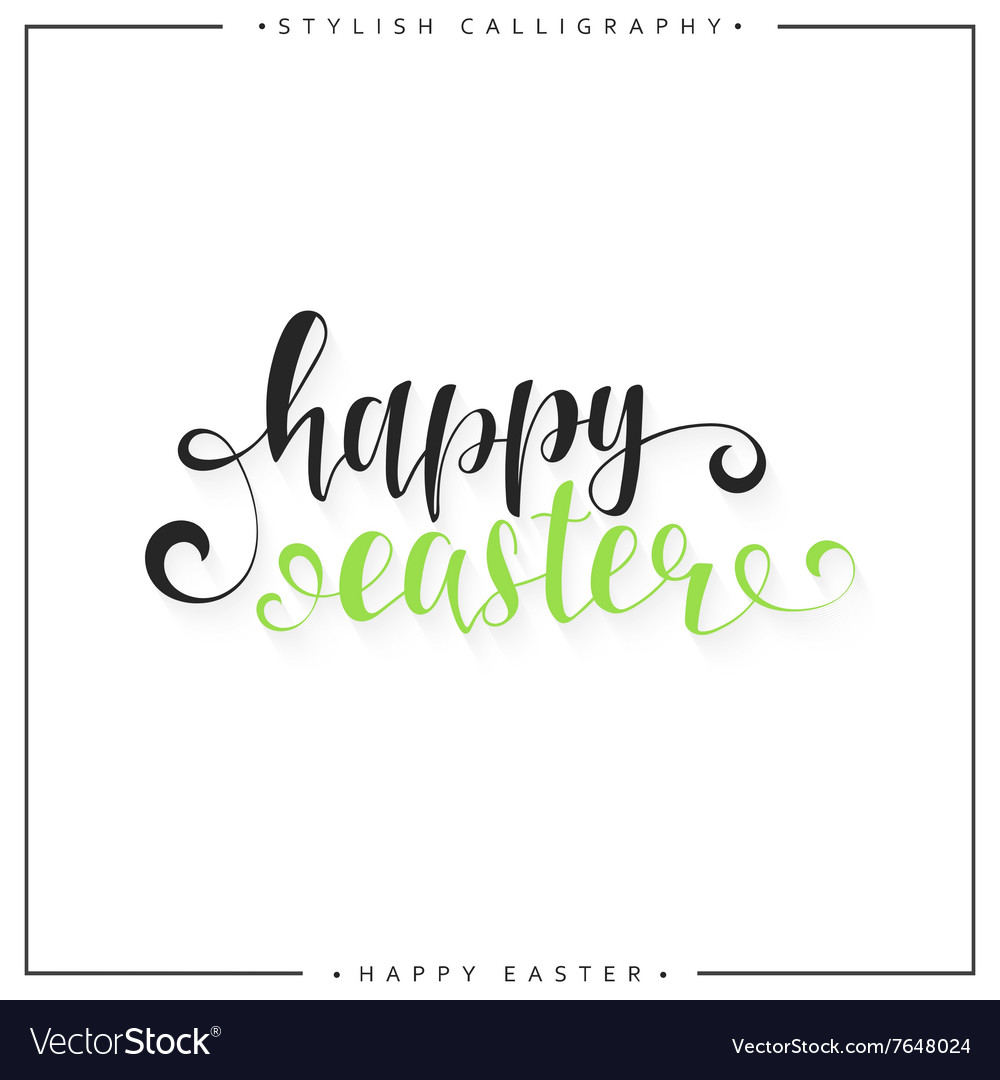 Lettering calligraphy set happy easter day modern vector