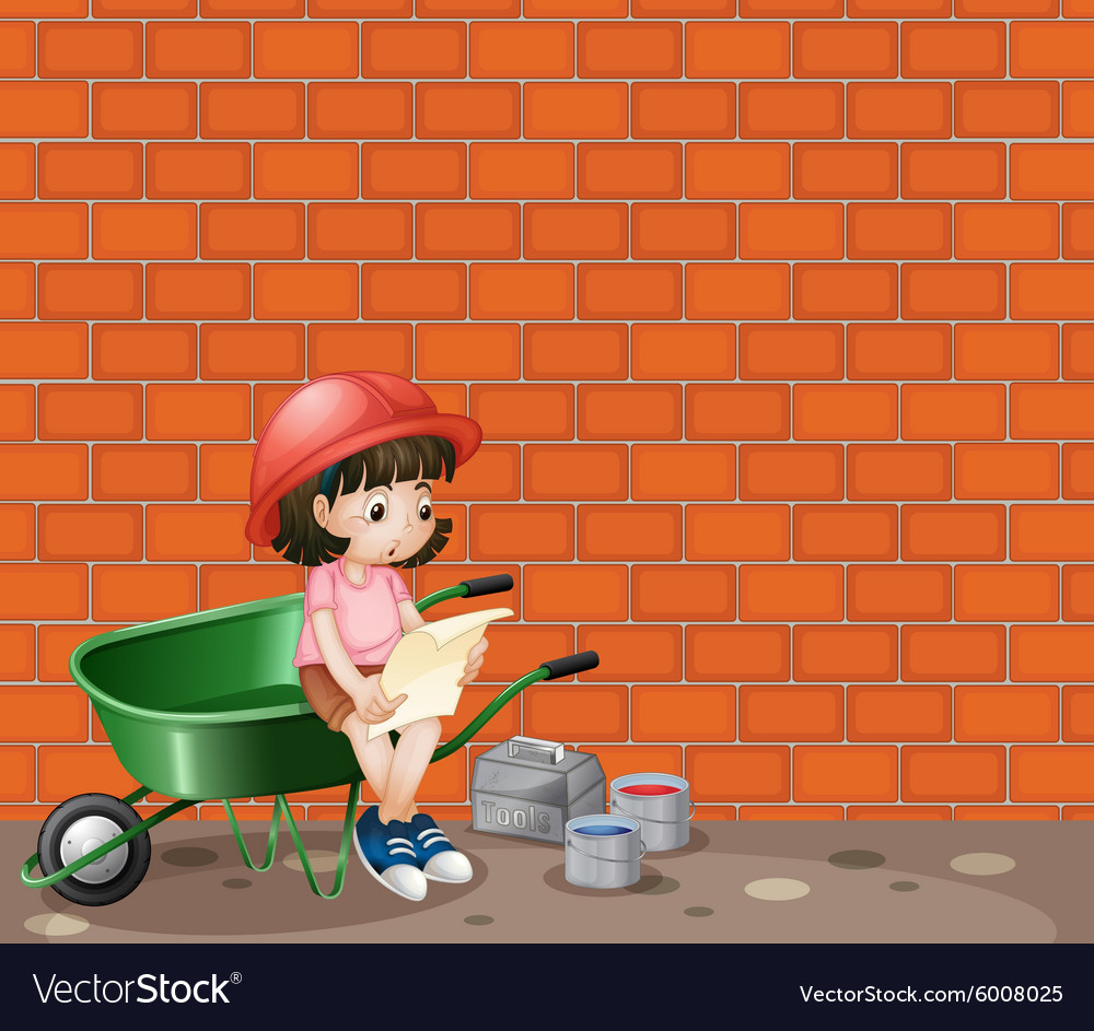 Girl working at the construction site vector
