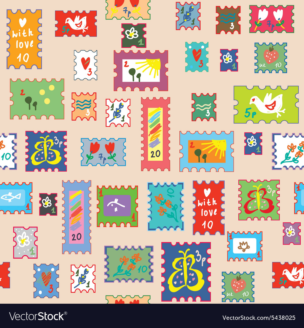 Seamless pattern with post stamps  funny childish vector
