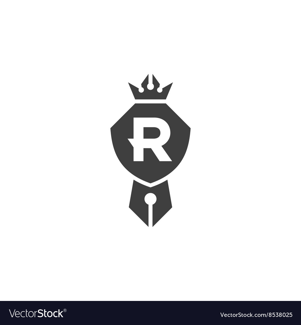 Shield is compatible pen crown emblem logo with vector