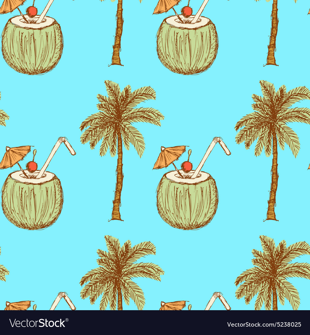 Sketch palm and coconut cocktail in vintage style vector