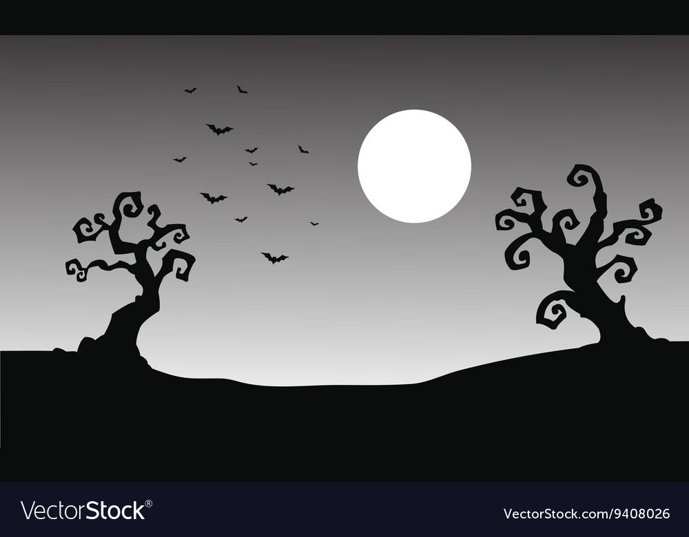 Bat and full moon halloween silhouette vector