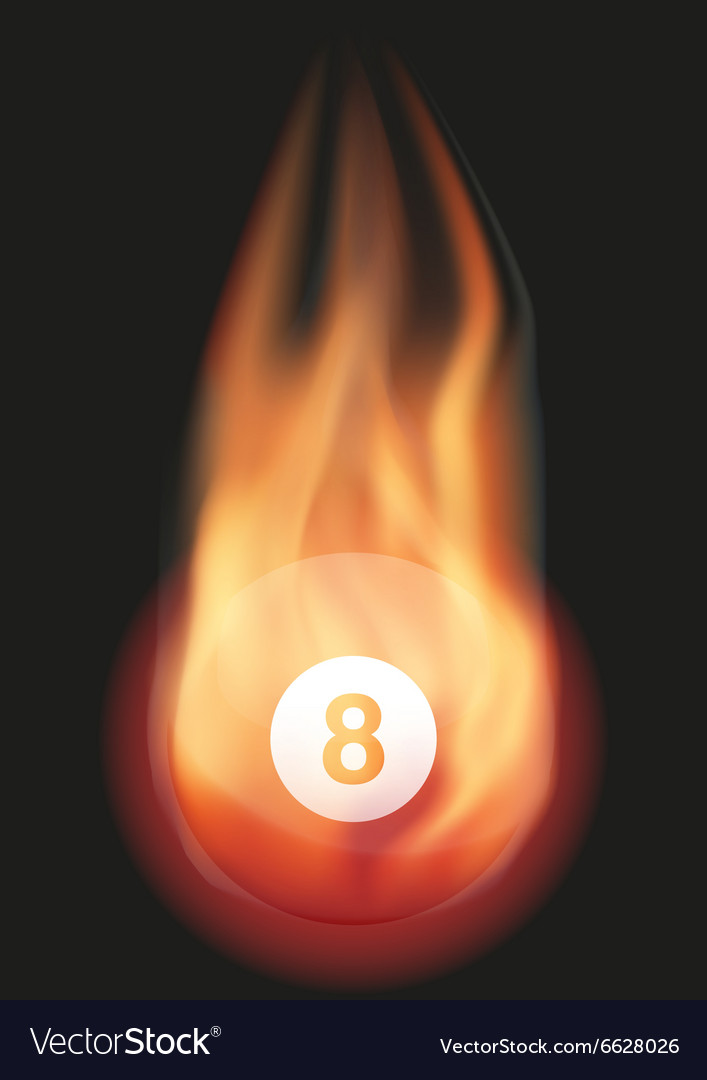 Billiard ball with flame vector