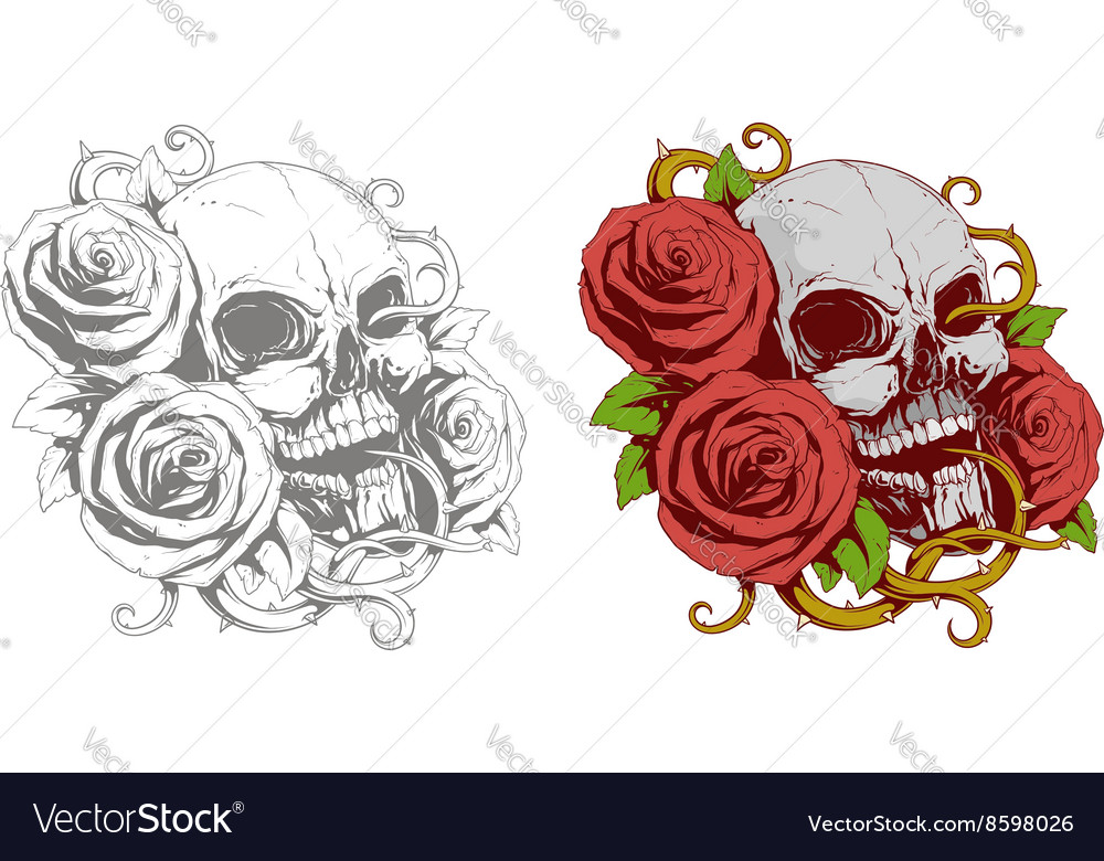 Grey skull with red roses tattoo vector