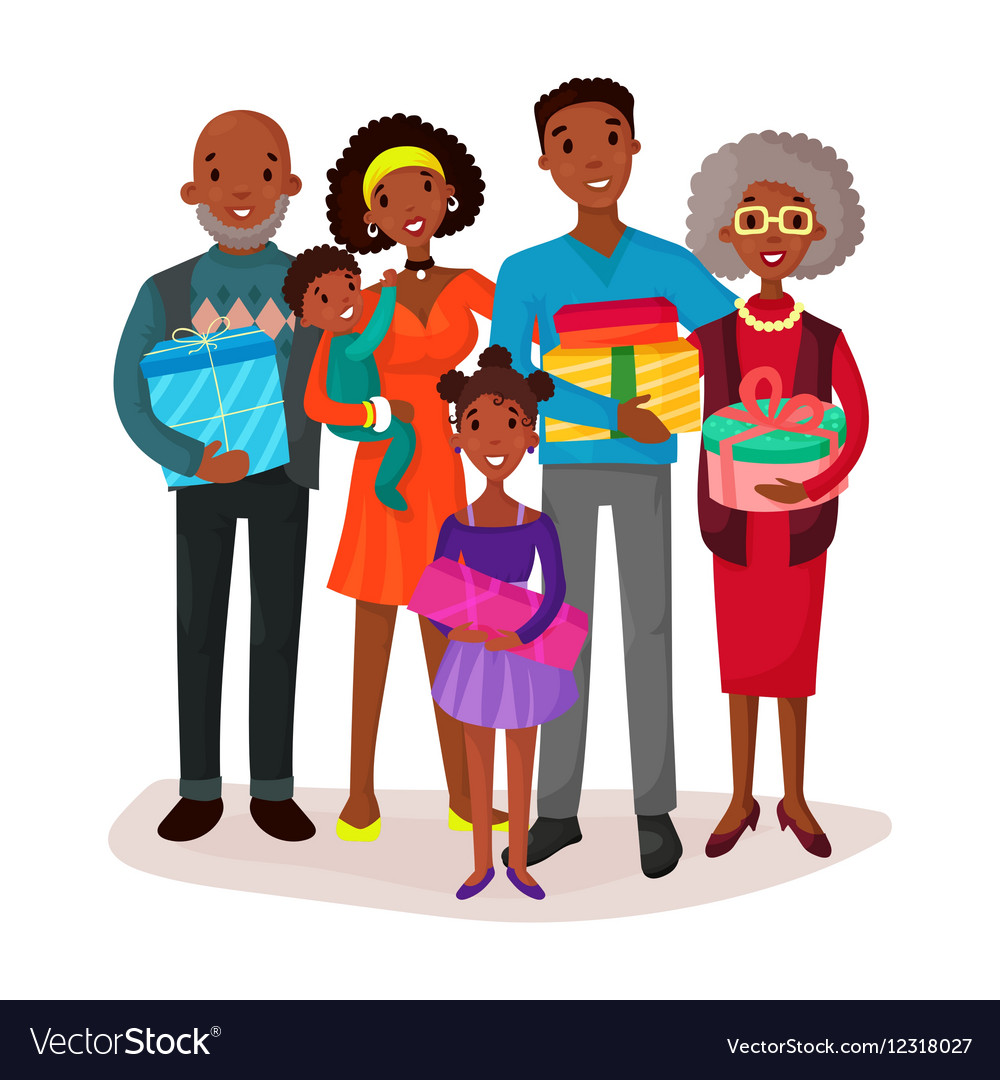 Black family holding children and gifts or present vector