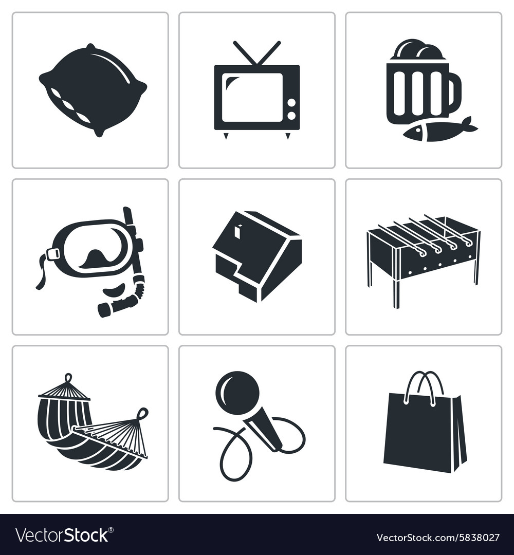 Leisure icons set vector