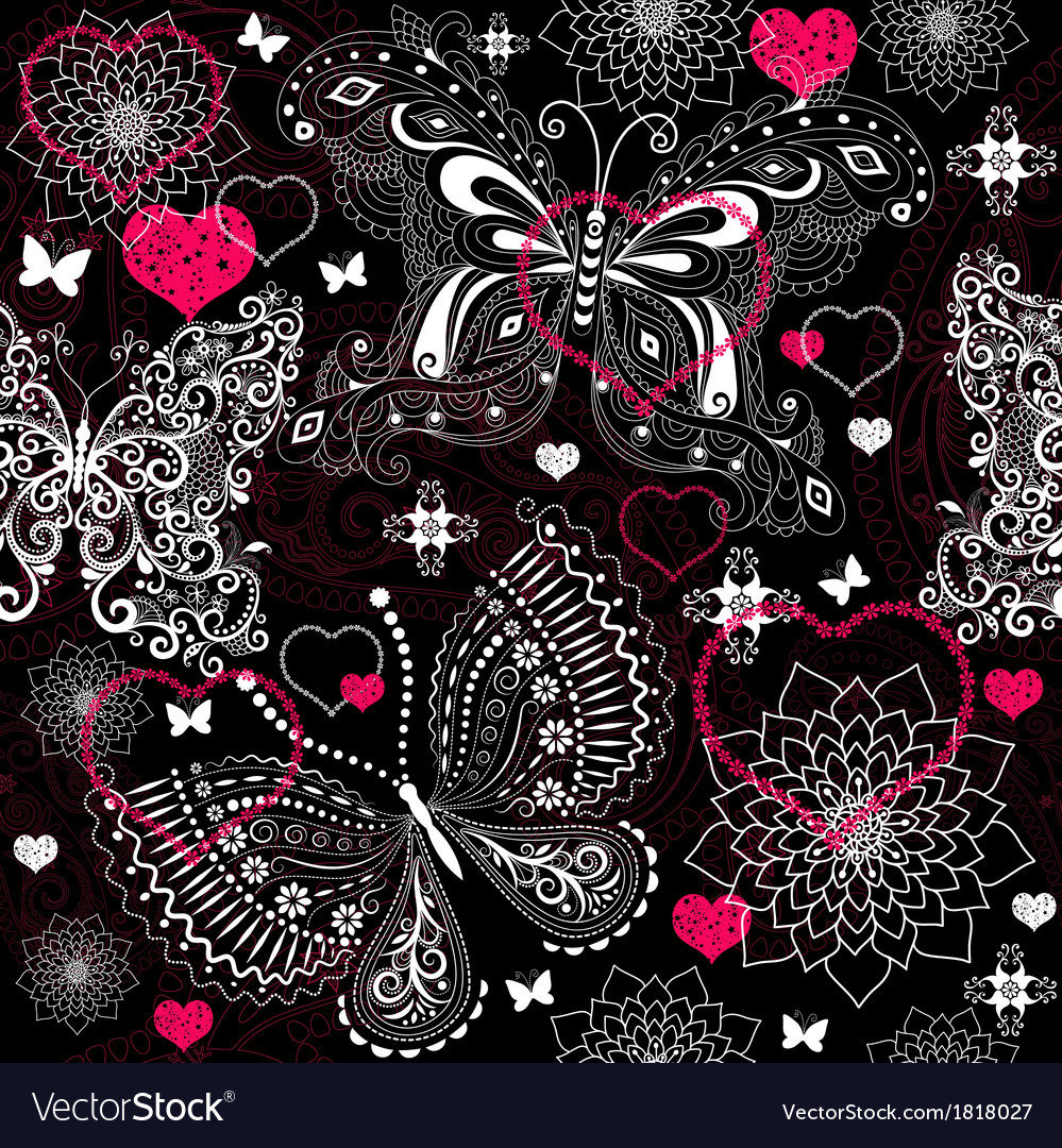 Seamless valentine floral pattern vector