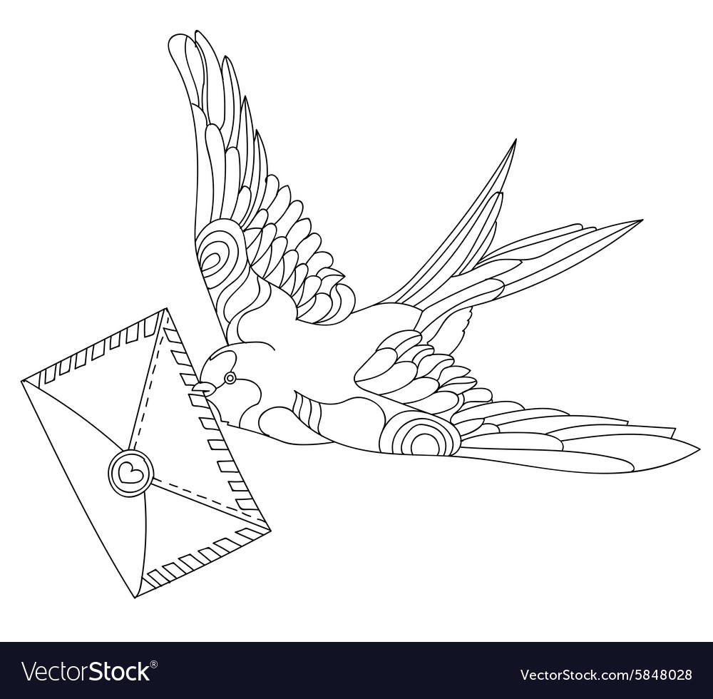 Swallows doodle on white background vector