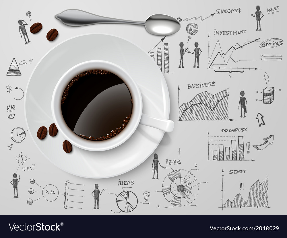 Coffee cup on business sketch vector