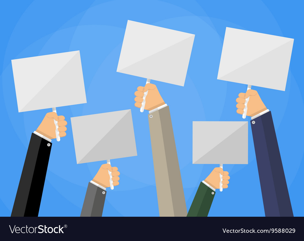 Hands holding white empty sign boards vector